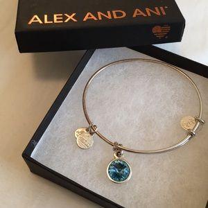 Alex & Ani Aquamarine Silver Birthstone Bracelet